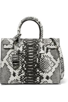 Dark-gray and ecru python-effect leather (Calf) Open top Comes with dust bag Weighs approximately 1.1lbs/ 0.5kg Made in Italy