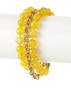 70% OFF Cristina V. Triple Chain Honey Jade Bracelet