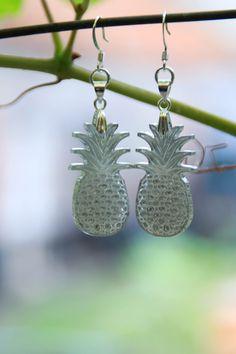 Boucles d'oreilles -Ananas- motif gravé modèle : miroir : Boucles d'oreille par la-petite-lily