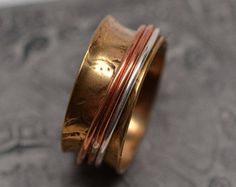 3/8 inch wide brass, copper, and sterling silver spinner ring (experimental series #3) - ready to ship