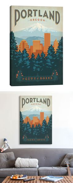 Pay homage to the great cultural hub of Oregon with this charming decorative piece. Designed in the style of vintage travel posters, this Portland Canvas Print will serve as a perfect love letter to Or...  Find the Portland Canvas Print, as seen in the Portland's Bohemian Mid-Century Collection at http://dotandbo.com/collections/portlands-bohemian-mid-century?utm_source=pinterest&utm_medium=organic&db_sku=116882