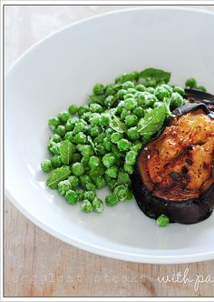 eggplant steaks with parmesan peas