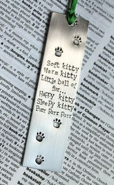 Soft Kitty Big Bang Theory - Metal Stamped Personalised Bookmark by MauveMagpie on Etsy