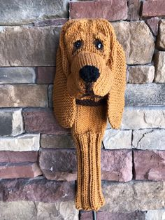 Hand knit bloodhound dog  club cover golf sock made to order by karenshines on Etsy