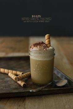 Boozy Blended Caramel Macchiato with Rum & Cocoa Whipped Cream | www.brighteyedbaker.com