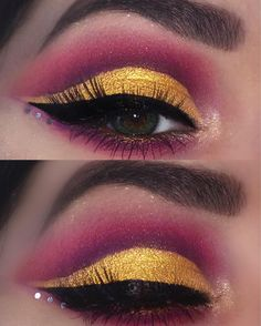 "177 Likes, 15 Comments - MAKE UP BY VANESSA (@itsmakeupbyvanessa) on Instagram: ""✨🌄 purple & gold cut crease  m a k e  u p  d e e t s : BROWS • @nyxcosmetics_de tame & frame brow…"""
