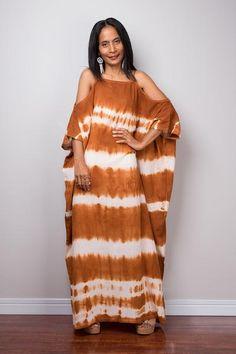 a6410761d1 Shibori Kaftan, Maxi Dress, Summer Dress, Brown and White Halter Dress