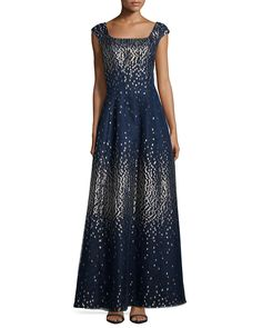Metallic Dot Cap-Sleeve Gown, Size: 12, Navy Multi - Kay Unger New York