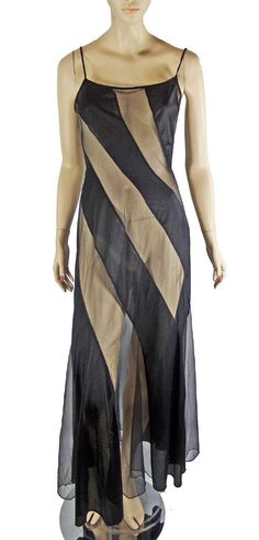 01b471ba47 Fredericks Hollywood Nightgown Sheer Chiffon S Peek-A-Boo Wicked Illusion  Stripe  FredericksofHollywood