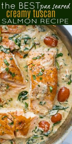 The BEST Pan Seared Creamy Tuscan Salmon Recipe is a gourmet meal that is easier than it looks Full of flavor this healthy Salmon in a creamy herb and tomato sauce is the perfect dinner salmon seafood dinner Seafood Fish Salmon Dinner, Seafood Dinner, Seafood Meals, Salmon Meals, Salmon Food, Keto Salmon, Salmon Cakes, Healthy Meal Prep, Healthy Eating