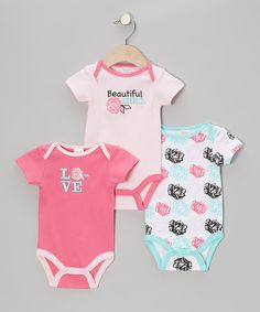 Take a look at this Baby Gear Pink 'Beautiful Girl' Bodysuit Set on zulily today!