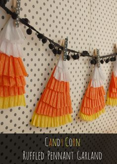3 quick and easy party garlands: ruffled pennants, gathered streamers + yarn poms and tassels  {Handcrafted Parties}