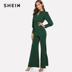 33bd8b722521 SHEIN Green Flare Maxi Jumpsuit  fashion  clothing  shoes  accessories   womensclothing  jumpsuitsrompers (ebay link)