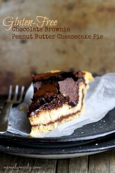 A gluten free pie layered with chocolate brownie and peanut butter cream cheese filling