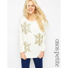 ASOS PETITE Holidays Sweater with Snowflakes ($69) ❤ liked on Polyvore featuring tops, sweaters, white, asos, asos tops, evening sweaters, snowflake sweater and cocktail tops