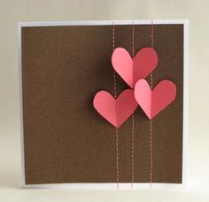 Sewn Hearts Card. Loving the stitching through card idea