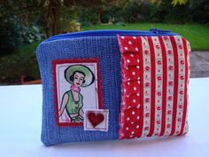 Recycled Denim Zipper Purse - appliqued - frayed edge ruffle.  £6.75