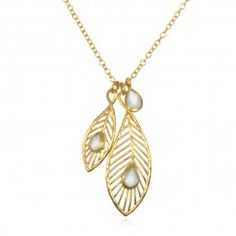 Peacock Feather Necklace in Gold with Blue Agate   Satya Jewelry #marieforleo #marieforleoxsatyajewelry #satyajewelry