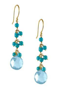14K Yellow Gold Turquoise & Blue Topaz Earrings by Jewelmak on @HauteLook