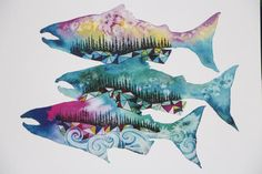 Salmon Season 8x10 Watercolor Print West Coast Pacific