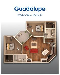 Guadalupe 3d House Plans, Dream House Plans, Small House Plans, 2 Bedroom House, House Rooms, Small Apartment Layout, Sims House Design, Building A Container Home, Floor Plan Layout