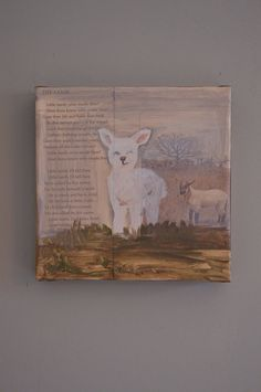 Lamb sheep oil painting book art on vintage poem and illustration  on Etsy, $55.00