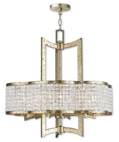 """Livex Lighting 50576 Grammercy 6 Light 26"""" Wide Single Chandelier with Clear Cry Hand Applied Winter Gold Indoor Lighting Chandeliers"""