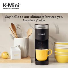The Keurig k-mini single serve Coffee maker features a new sleek design, and at less than wide is the perfect size for any space or occasion. The k-mini brewer. Single Cup Coffee Maker, Pod Coffee Makers, Best Coffee Maker, Single Serve Coffee, Coffee Pods, Coffee Maker Reviews, Reusable Coffee Filter, Gadgets, Rv Organization