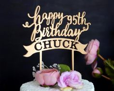 Personalized Happy Birthday Wood Cake Topper with name and year Happy Birthday Font, Happy Birthday Cake Topper, 16th Birthday, Wooden Cake Toppers, Wood Cake, Wood Wedding Cakes, Personalized Wedding Cake Toppers, Fancy Cakes, Creations