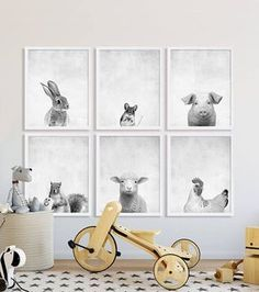Animal Nursery Prints Large Nursery Art Modern Nursery Decor