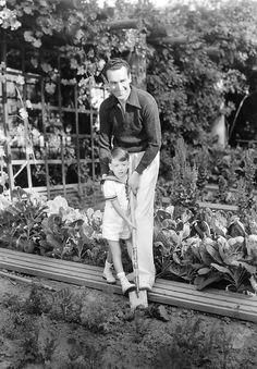 Harold Lloyd and his son Harold Lloyd Jr. at the Greenacres estate, 1935