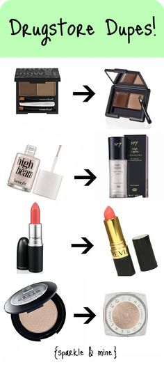 The mother of all drugstore dupe posts! A whole page filled with cheaper versions of high-end cosmetics! The products are nearly identical, but the prices are much, MUCH lower! Live these dupes All Things Beauty, Beauty Make Up, Diy Beauty, Girly Things, Beauty Hacks, Cheap Makeup, Love Makeup, Makeup Tips, Makeup Hacks