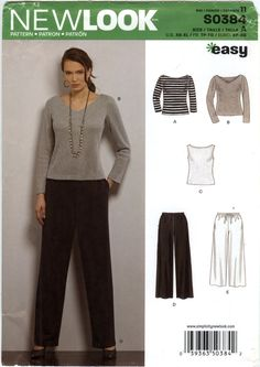 New Look 0384 Misses' Top and Pants Five Sizes in One