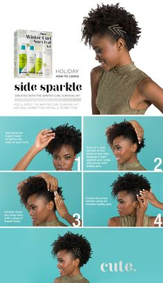 Turn heads this season with bobby pins and the DevaCurl Winter Curl Survival Kit. #holidayhair #curlyhair #howto