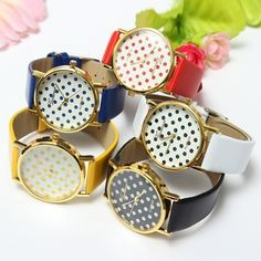 Sweet Cute Women Girl Round Leather Band Small Polka Dots Watch - US$3.99