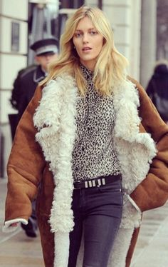 great shearling. Anja #offduty in Paris. #AnjaRubik