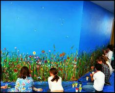 School mural - nice and colourful, could do it in layers to build it up nicely like this one