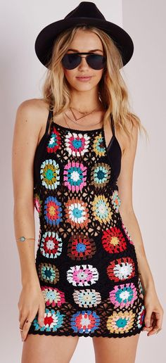 Missguided - Dress In Patchwork Crochet
