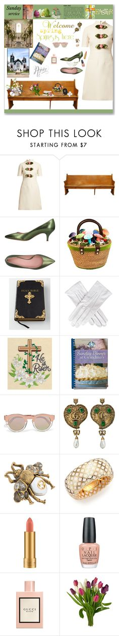 """""""Sunday Morning Easter Service"""" by deborah-518 ❤ liked on Polyvore featuring Gucci, Fauzian Jeunesse, Kimberly Wolcott, Black, Rick Owens Lilies, Sunday Somewhere, MAC Cosmetics and OPI"""