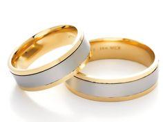Anillos de #matrimonio de oro blanco y amarillo