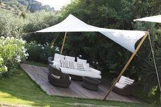 If you need privacy from above, a simple shade sail can be bought or made and installed to provide respite from the midday sun, and give you privacy from units above. You can make a shade sail out of Backyard Shade, Outdoor Shade, Patio Shade, Backyard Patio, Outdoor Rooms, Outdoor Gardens, Outdoor Living, Garden Sail, Gazebo