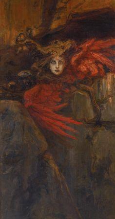 Vasily Alexandrovich Kotarbinsky (Russian, Medusa, Oil on canvas, 211 x cm, 83 x 44 in. Art And Illustration, Arte Horror, Horror Art, Art Sinistre, Tarot, Le Sphinx, Art Noir, Art Ancien, Peter Paul Rubens