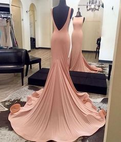 Charming Blush Prom Dress, Backless Prom Dress, Sexy