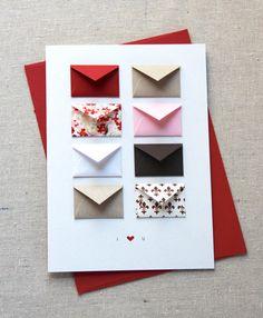 Je t'aime carte minuscule d'enveloppes avec par LemonDropPapers