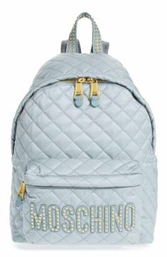 35e58fff6b Moschino Studded Logo Quilted Nylon Backpack Mochila Samsonite