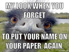 Don't forget to put your name on your paper!