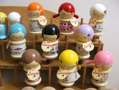 Kokeshi Sticker Spool Dolls <3  I want these for my craft ribbons!