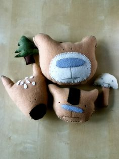 Plush Handmade Eco Friendly Toy - Nursery Decor - Baby Shower Gift - Woodland Critter Collection. $50.00, via Etsy.