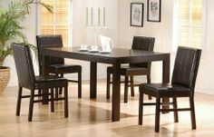 """Cappuccino Dining Room Table Chair Set Parson Chairs by Coaster Home Furnishings. $531.03. Some assembly may be required. Please see product details.. 5pc Contemporary Style Cappuccino Finish Dining Table & Chair Set  You will receive a total of 1 table and 4 chairs Dining Table: 57""""L 35""""W 30""""H Chair: 17""""W 22""""D 35""""H  Finish: Cappuccino & Dark Brown Materials: Wood & Simulated Bycast 5pc Contemporary Style Cappuccino Finish Dining Table & Chair Set Parson chairs are c..."""