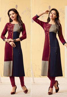 A Bunch Rayon Embroidered Event Wear Knee Length Kurti Set Stylish Dress Designs, Stylish Dresses, Women's Fashion Dresses, Kurti Sleeves Design, Kurta Neck Design, Indian Gowns, Pakistani Dresses, Kurta Designs Women, Blouse Designs